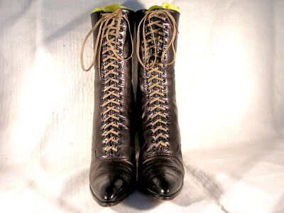 Antique Victorian Period Black Leather Lace Up Boots US 8 1/2/9