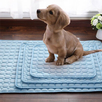 Summer Pet Dog Mat Blue Fiber Chilly Mat Cooling for Dog Cat Bed Cool Gel Pad
