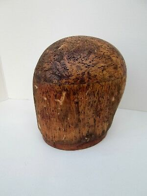 """Antique EMPIRE HAT BLOCK Wooden Hat Mold Form Millinery 21 1/2"""" Display Head"""