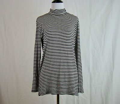C&C CALIFORNIA Black & White Striped Long Sleeve Turtleneck Top - Size M - NWT