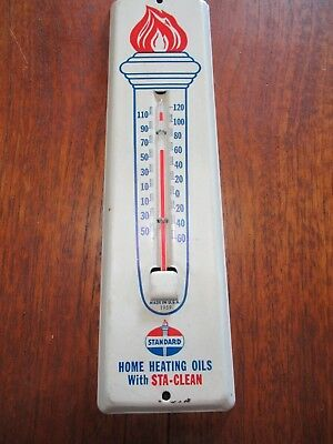 1959 Vintage Standard Oil Metal Thermometer