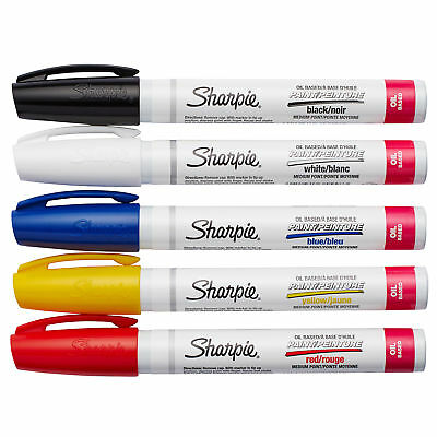 Sharpie Medium Point Oil-Based Paint Markers 5/Pkg-Black, Blue, Yellow, Red And