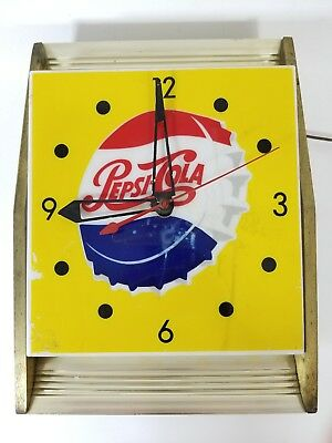 Vintage 1950s Pepsi Clock Light Up Sign - Tel-a-Sign Chicago Yellow, Clock Work