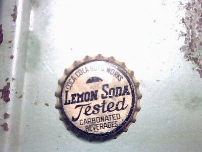 Vintage Lemon Soda Tested Bottle Cap With Cork Coca Cola Bottle Works N/r