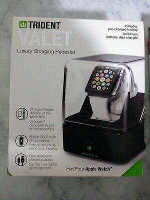 NEW Trident Valet Luxury Charging Pedestal For Apple Watch: Black