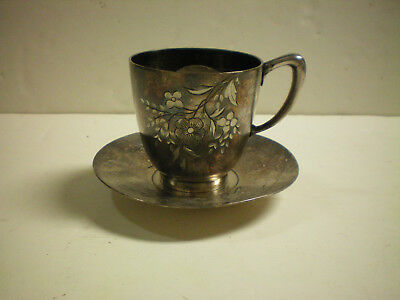 Silverplate Mustache Cup and Saucer