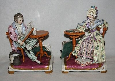 Pair of French Sevres Porcelain Figures,  Couple at Side Tables