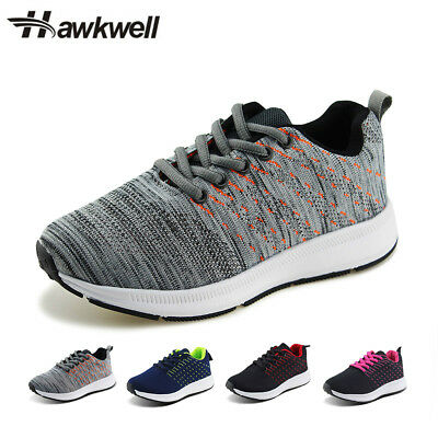 Hawkwell 9 M Grey Kids Knit Walking Shoes Boys Girls Lace Up Running Sneakers