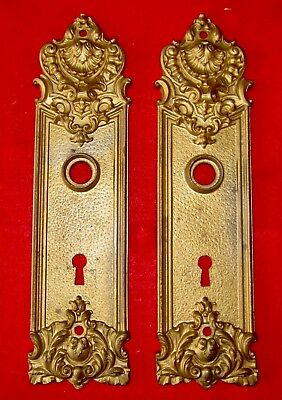 Antique Yale & Towne Lock Plates 2 Ornate Victorian Design Architectural