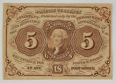 1862-1863 Fractional 5 Cent Currency Note 1st Issue XF Fr-1230