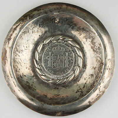 110 Gram Silver Candy Dish with 1825 Bolivia PTS JL 4 Real Silver Coin KM#88