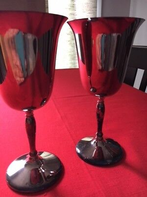 Two Silver Plate Wine Goblets