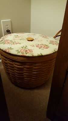 Longaberger Large Corn Basket With Leather Handles Never Used $200+  BEAUTIFUL