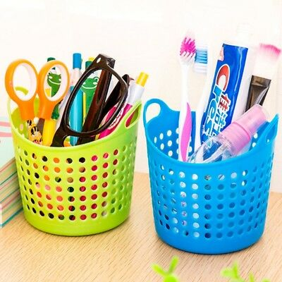 Office Desktop Storage Baskets Makeup Organizer Trash Bin Garbage Can Plastic