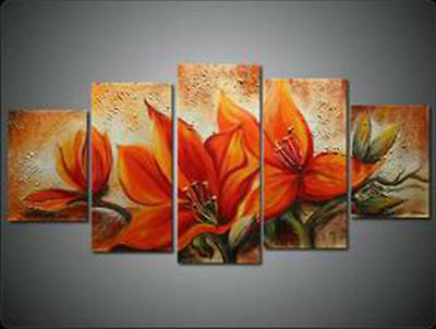 Large Modern Floral Abstract Oil Painting on Canvas Contemporary Wall Art Framed