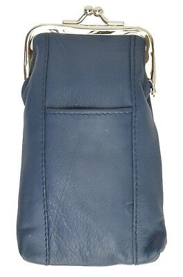 Cigarette Leather Case [Blue] w/ Lighter Pouch & Clip Top Regular and 100's