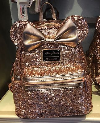 Disney Parks Loungefly Rose Gold Sequin Minnie Mouse Backpack New with Tag