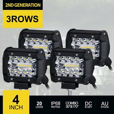 4x 4 inch 200W CREE LED Work Light Bar 3Row Offroad SPOT FLOOD Work Driving Lamp