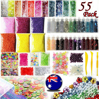Slime Supplies Kit 55 Pack Slime Beads Charms Slime Tools For DIY Slime Making K