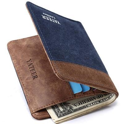 Men PU Leather Wallet Pocket Coin Card Money Holder Clutch Bifold Slim Purse D