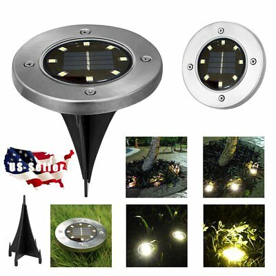 10Pcs 8LED Solar Power Buried Light Under Ground Lamp Outdoor Path Way Garden US