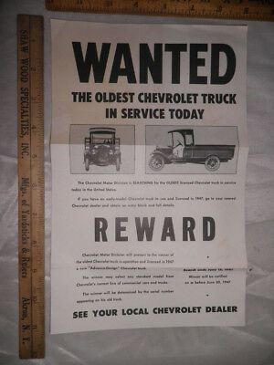 Antique 1947 Oldest Chevrolet Truck in Service Wanted Poster