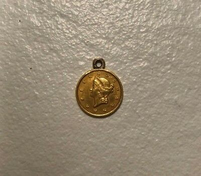 1850 U.s. Liberty Head One Dollar Gold Coin Amazing Condition With Pendant Bail