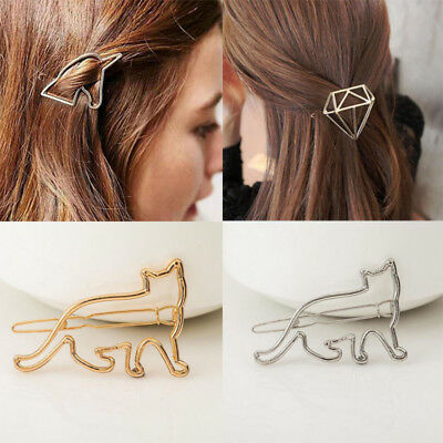 Cute Women Gold Silver Hollow Hair Clip Clamp Flower Animals Hairpin Barrette