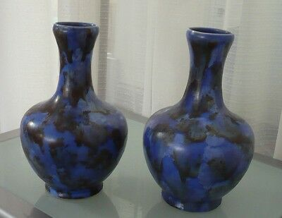 """CLEWS CHAMELEON WARE PAIR BLUE ART POTTERY VASES 8""""1/2""""High."""