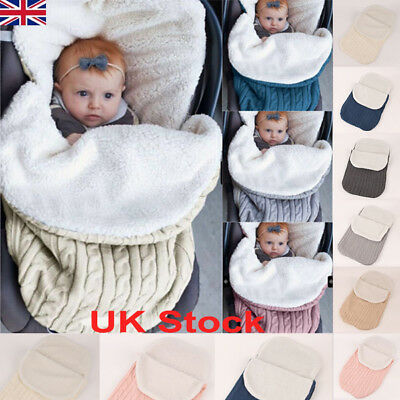 Newborn Baby Knit Crochet Swaddle Wrap Swaddling Blanket Warm Soft Sleeping Bag