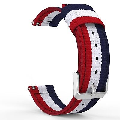 (Blue & White & Red) - Gear S3 Watch Band, MoKo Fine Woven Nylon Adjustable