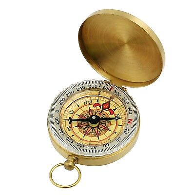 GWHOLE Portable Pocket Watch Flip-Open Compass Brass Metal Camping Hiking