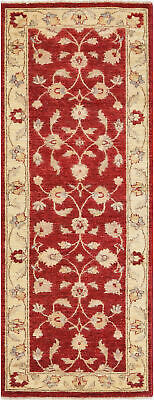 Traditional Handmade Oriental Chobi Runner Area Rug Red/Beige Color (2.5 x 6)