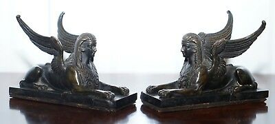 Pair Rare Early 19Th Century Italian Grand Tour Solid Bronze Winged Sphinxes