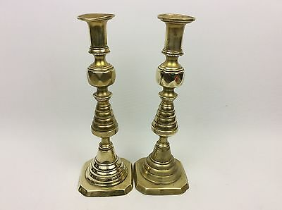 Lovely Pair Of Antique Victorian English Brass Candlesticks Rd No:223580 England