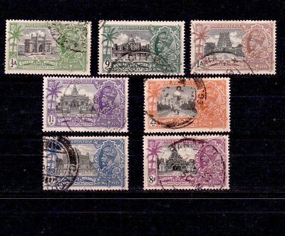 India 1935 King George V Silver Jubilee Stamps To 8 Annas Including Rangoon Pmk