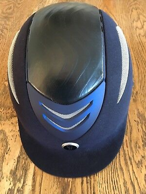 Gatehouse Conquest Riding hat size 61cm Navy Suedette excellent condition