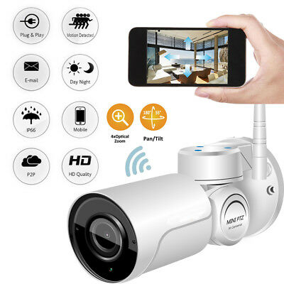 Wireless 4x zoom MINI PTZ Outdoor CCTV Audio Security Network Camera IR Night---