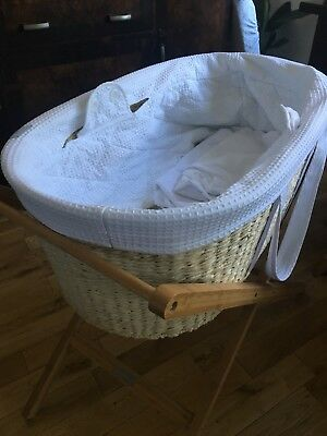 Baby Moses Basket & Stand (Born with Style) Fantastic Condition, Bedding Inc