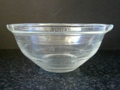 VINTAGE KITCHEN CLASSIC ONE PINT GLASS MIXING BOWL with MEASUREMENTS