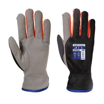 Leather Work Gloves Thermal Fleece Lined Cold Protect Portwest WinterShield A280