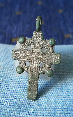 Late Medieval Silvered Bronze Cross Pendant - Artifact Wearable
