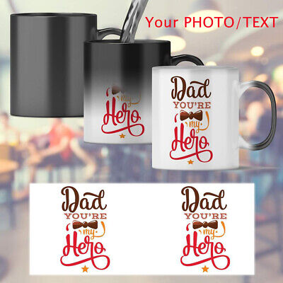 """Fathers Day Gift"" Magic Photo Mug Heat Changing Tea Cup Surprise Gift Present"