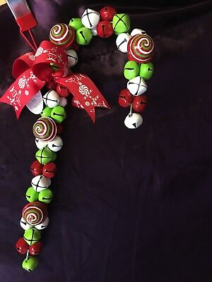 Large Christmas Candy Cane Hanging Jingle Bell Decoration 44cm Long