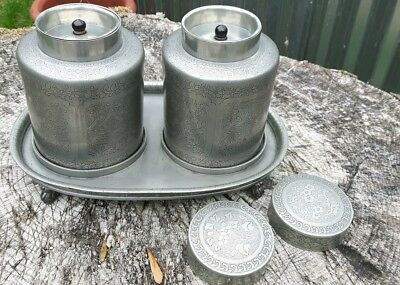 Rare Antique Set Pair Chinese Pewter Tea Caddies On Tray