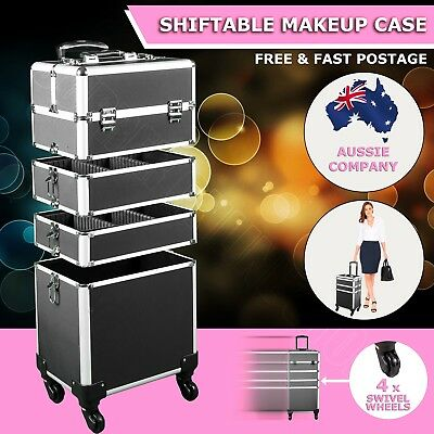 7 in 1 Portable Cosmetics Beauty Makeup Case Carry Bag Organiser Trolley Black