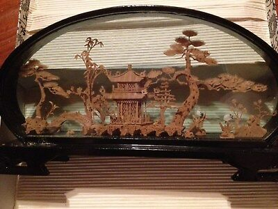 Vintage Chinese Hand Carved Cork Origami Diorama  In Case