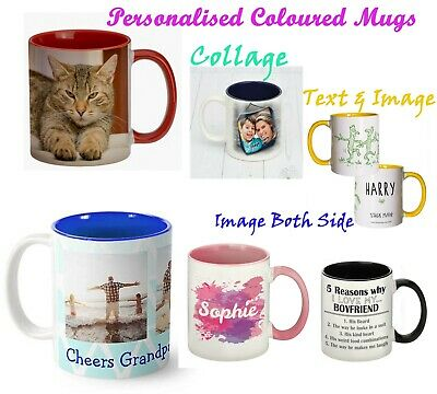 Personalised Mugs Coloured Coffee Cup Customised Photo Tea Mugs Any Image Text