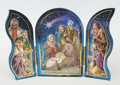 Nativity small Triptych Folding/standing Christmas plaque