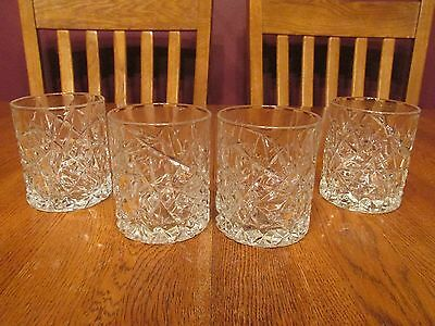 4 Wonderful Cristal D'Arques Sculptra Crystal Double Old Fashioned Glasses